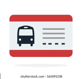 Bus travel ticket vector flat material design object. Isolated illustration on white background.