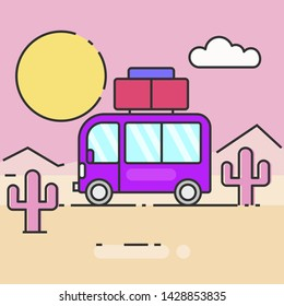 Bus travel the world vector illustration for your needs