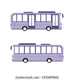 Bus with two doors. Side view. Cartoon, flat style vector illustration. City public transport, modern omnibus isolated on white.
