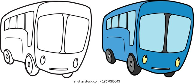 Bus vector drawing transportation learning education cartoon drawing, line art and colored.