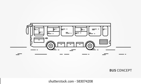 Bus vector illustration. Public transport line art concept. Urban vehicle (bus) graphic design.