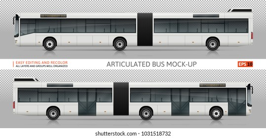 Bus vector mock-up. Isolated template of realistic city transport on transparent background, side view. Vehicle branding mockup. All elements in the groups on separate layers. Easy to edit and recolor