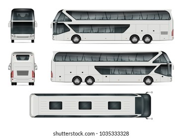 Bus vector mock-up. Isolated template of tour coach on white background. Vehicle branding mockup. Side, front, back, top view. All elements in the groups on separate layers. Easy to edit and recolor.