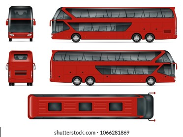 Bus vector mock-up Isolated template of red travel coach on white. Vehicle branding mockup, view from side, front, back and top. All elements in the groups on separate layers, easy to edit and recolor