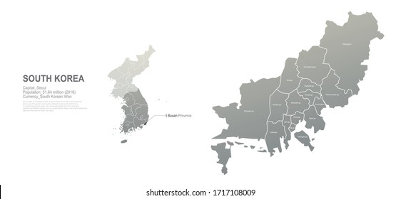 busan map. south korea city, provinces vector map series.