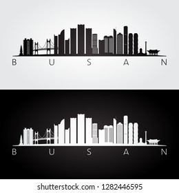 Busan skyline and landmarks silhouette, black and white design, vector illustration.