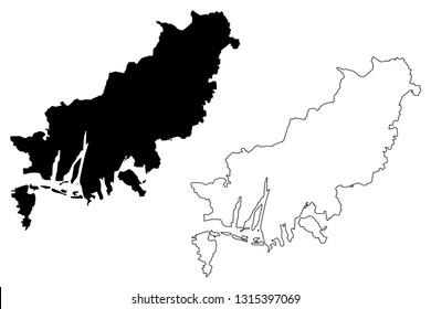 Busan (South Korea, Republic of Korea, ROK, Special cities of South Korea) map vector illustration, scribble sketch Busan Metropolitan City (Pusan) map