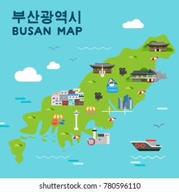 "Busan travel map vector illustration, Attractions in flat design. Korean character is "" Busan Metropolitan City """