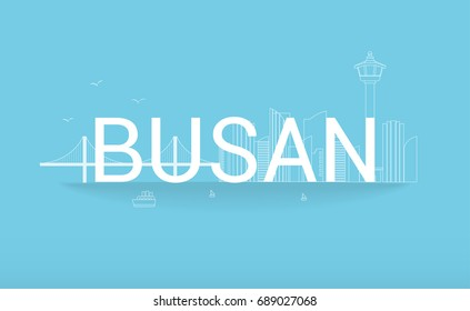 Busan Vector illustration. Rope bridge, tower and cityscape building outline. Landmark in Busan.