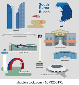 Busan Vector illustration. Busan tower and cityscape building. Busan, Korea.