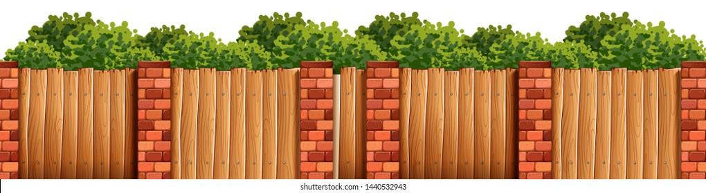 Bush and fence forground scene illustration