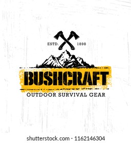Bushcraft Outdoor Adventure Prepper Survival Equipment Vector Banner Design Element. Creative Rough Camping Sign Concept On Distressed Grunge Background