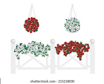 Bushes and flowers in pots and hanging on the fence. Decorate balcony, buildings, fence.