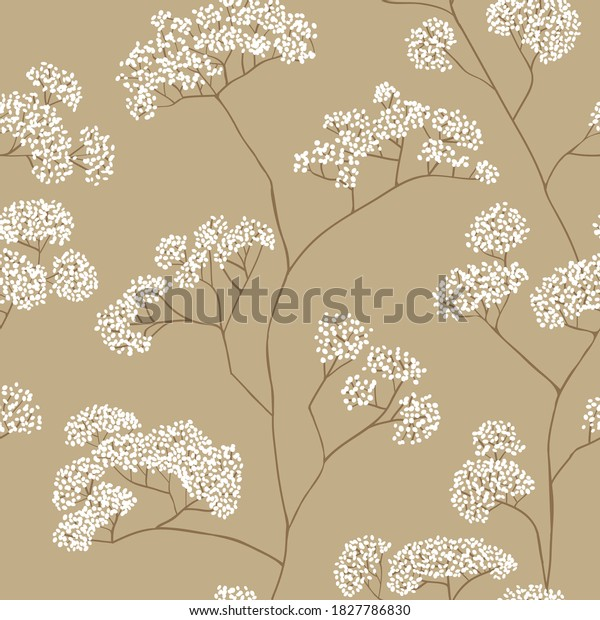 Bushes of small white flowers in beige color palette. Vector seamless pattern design for textile, fashion, paper, packaging and branding.