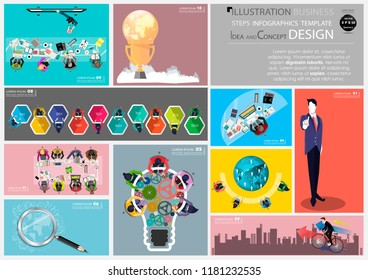 Business 10 Steps for Success -  Brainstorming and Network Technology- with Cellphone,Tablet ,Laptop,Computer, Light bulb cog,Magnifying glass, Percent 10 -100,trophy,Cloud,Earth.