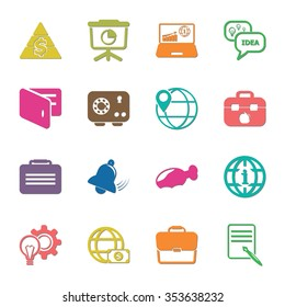 business 16 icons universal set for web and mobile flat