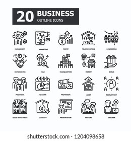 Business 20 Outline icons.Business and Finance Concept Thin line icons.