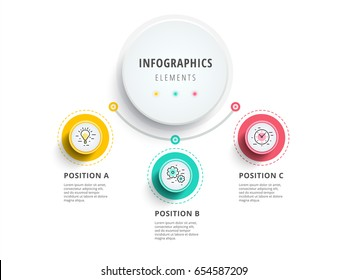 Business 3 step process chart infographics with step circles. Circular corporate graphic elements. Company presentation slide template. Modern vector info graphic layout design.