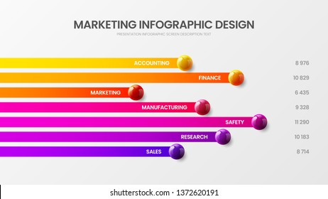 Business 7 option infographic presentation vector 3D colorful balls illustration. Corporate marketing analytics report horizontal bar chart design layout. Statistics graphic visualization template.