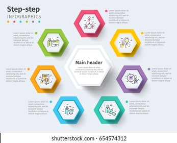 Business 7 step process chart infographics with step circles. Bright corporate graphic elements. Company presentation slide template. Modern vector info graphic layout design.