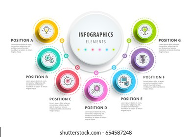 Business 7 step process chart infographics with step circles. Circular corporate graphic elements. Company presentation slide template. Modern vector info graphic layout design.
