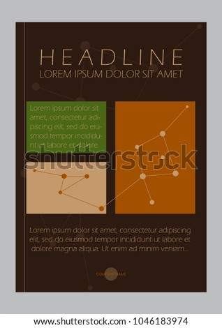 Business A4 Brown Book Cover Design Template with lines. Good for Portfolio, Brochure, Annual Report, Flyer, Magazine, Academic Journal, Website, Poster, Monograph, Corporate Presentation, Vector.