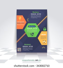 Business A4 Flyer and Brochure. Catalog Cover Template, Corporate Leaflet Background