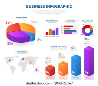 Business abstract infographics with 3d pie info char and graph bar. Business chart and diagram report info, infochart layout. Vector illustration