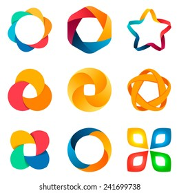 Business abstract logo template set. 5 point ribbon stars icon. Vector. Designed for any type of business. Social network concepts.