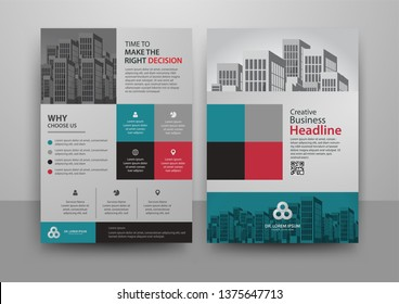 Business abstract vector template for Brochure, AnnualReport, Magazine, Poster, Corporate Presentation, Portfolio, Flyer, Market, infographic with blue and red color size A4, Front and back