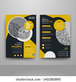 Business abstract vector template for Brochure, AnnualReport, Magazine, Poster, Corporate Presentation, Portfolio, Flyer, Market, infographic with yellow and black color size A4, Front and back