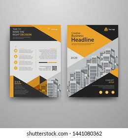 Business abstract vector template for Brochure, AnnualReport, Magazine, Poster, Corporate Presentation, Portfolio, Flyer, Market, infographic with yellow and black color size A4, Front and back.