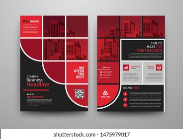 Business abstract vector template for Brochure, AnnualReport, Magazine, Poster, Corporate Presentation, Portfolio, Flyer, infographic with red and black color size A4, Front and back. Vector