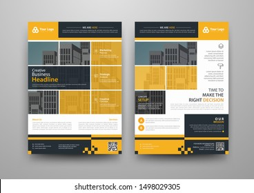 Business abstract vector template for Brochure, AnnualReport, Magazine, Poster, Corporate Presentation, Portfolio, Flyer, infographic with yellow and blue color size A4, Front and back. Vector