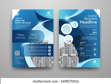 Business abstract vector template for Brochure, AnnualReport, Magazine, Poster, Corporate Presentation, Portfolio, Flyer, infographic with blue and white color size A4, Front and back. Vector