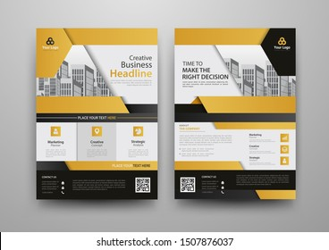 Business abstract vector template for Brochure, Annual Report, Magazine, Poster, Corporate Presentation, Portfolio, Flyer, Market, infographic with yellow and black color size A4, Front and back.