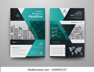 Business abstract vector template for Brochure, Annual Report, Magazine, Poster, Corporate Presentation, Portfolio, Flyer, Market, infographic with blue and black color size A4, Front and back.