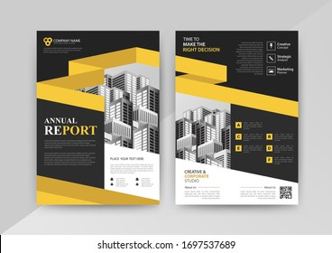 Business abstract vector template for Brochure, AnnualReport, Magazine, Poster, Corporate Presentation, Portfolio, Flyer, infographic with yellow and black color size A4, Front and back. Vector