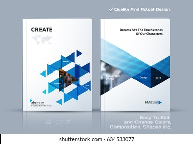 Business abstract vector template. Brochure design, cover modern layout, annual report, poster, flyer in A4 with blue triangles, geometric shapes for tech, science, market with light background.