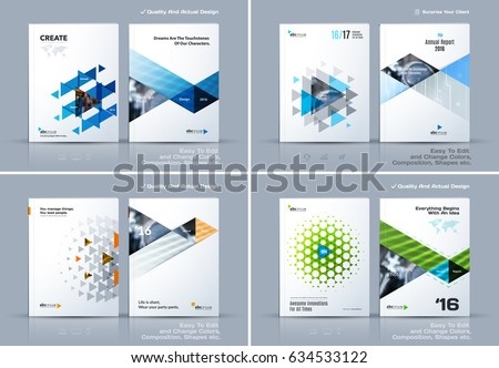 Business abstract vector template. Brochure design, cover modern layout, annual report, poster, flyer in A4 with colourful triangles, geometric shapes for tech, science, market with light background.