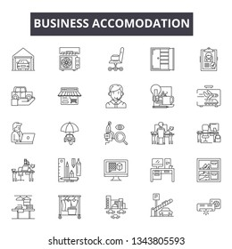 Business accomodation line icons for web and mobile design. Editable stroke signs. Business accomodation  outline concept illustrations