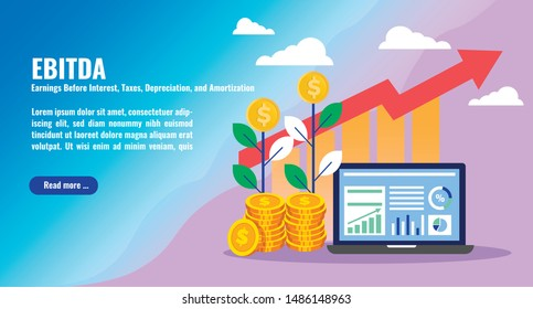 Business accounting and finance concept illustration on EBITDA. Business tax, analytics, stack of money, arrows and graph stats. Thick line style banner. Trendy vector placard with text and button