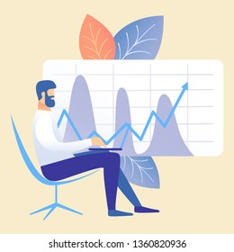 Business Accounting, Market Analysis Illustration. Man Sitting in Chair Cartoon Character. Businessman, Manager Analysing Financial Report. Accountant Working with Company Statistics, Graph