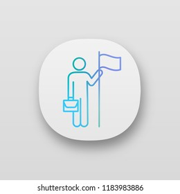 Business achievement app icon. UI/UX user interface. Professional success. Business mission accomplished. Goal achieving. Web or mobile application. Vector isolated illustration