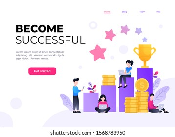 Business achievement flat vector illustration. Small people working on laptops around columns with pile of coins, golden cup and stars. Businessmen rich their goals landing page template
