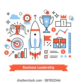 Business achievements symbols background. Thin line art flat illustration with icons.