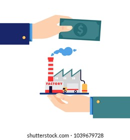 Business acquisition deal. Buying & selling factory for a money. One businessman holding production plant in palm hand, while another holds out cash money in a conceptual vector illustration on white