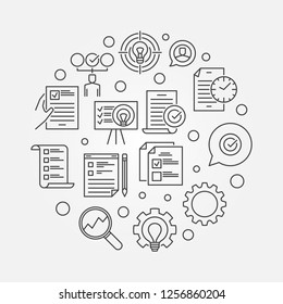 Business Action Plan vector concept circular minimal illustration in thin line style