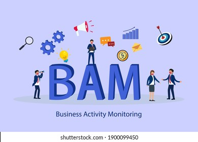 Business Activity Monitoring (BAM) 2D flat vector concept for banner, website, illustration, landing page, flyer, etc
