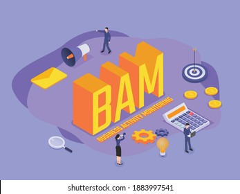 Business Activity Monitoring (BAM) isometric 3d vector concept for banner, website, illustration, landing page, flyer, etc.